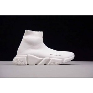 Cheap Speed Stretch-Knit White Mid Sneakers