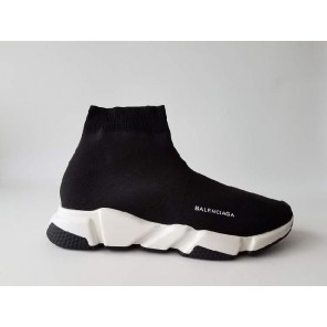 Cheap Speed Stretch-Knit Black White Black Bottom Mid Sneakers